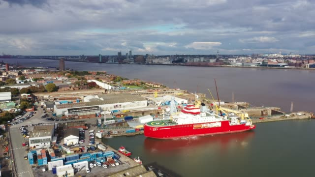 the rrs sir david attenborough research vessel sits in the dock at cammell laird shipyard on october 14, 2020 in liverpool, england. the liverpool... - shipyard stock videos & royalty-free footage