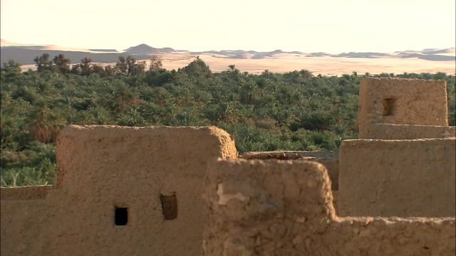 the ruins of adobe buildings stand in a desert oasis. - desert oasis stock videos & royalty-free footage