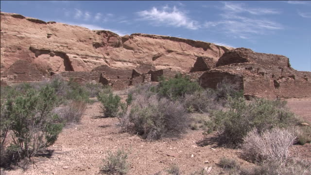 the ruins of an ancient pueblo lie in chaco culture national historical park in new mexico. - chaco culture national historical park stock videos & royalty-free footage