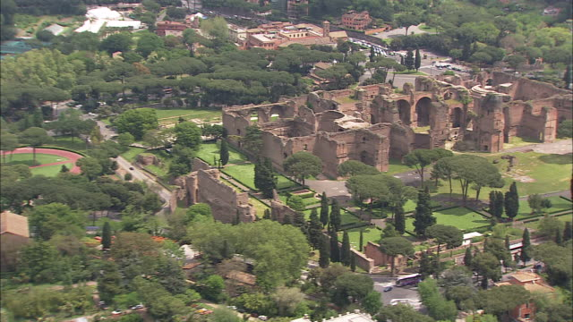 the ruins of ancient roman baths stand in rome, italy. - baths of caracalla stock videos and b-roll footage