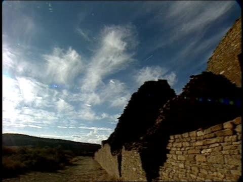 the ruins of pueblo bonito stand open to the sky. - pueblo bonito stock videos & royalty-free footage