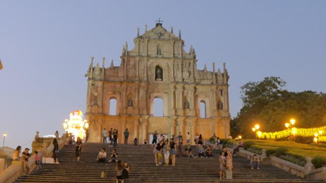 the ruins of st. paul's, macau, china - 聖ポール天主堂跡点の映像素材/bロール
