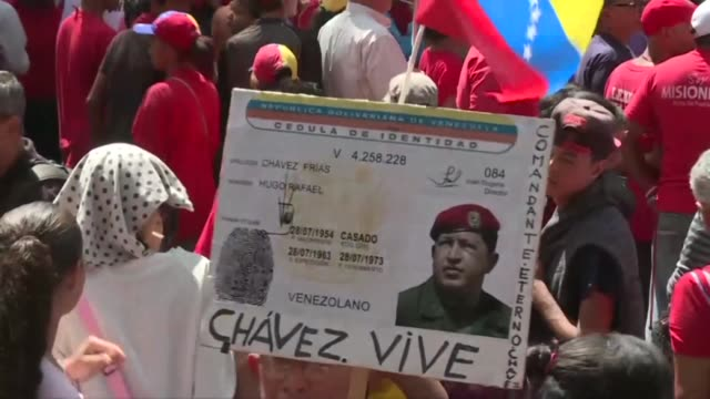 The ruling United Socialist Party of Venezuela rallies in Caracas to commemorate twenty years since deceased president Hugo Chavez election victory