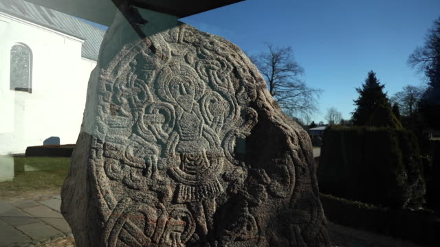 the runestones of jelling, denmark - bluetooth stock videos & royalty-free footage