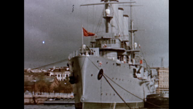 the russian cruiser aurora on the 50th anniversary of the october revolution - russia stock videos & royalty-free footage