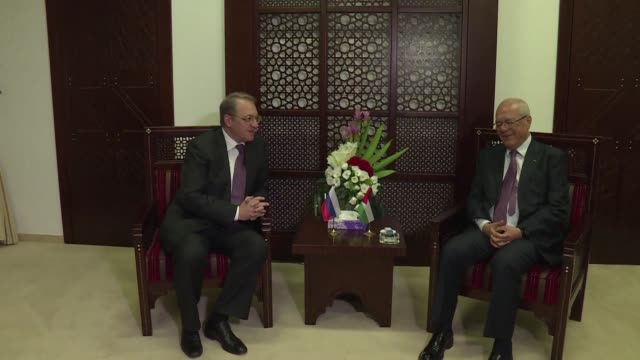 the russian middle east envoy mikhail bogdanov met with the palestine liberation organisation secretary general saeb erekat in the west bank city of... - palestine liberation organisation stock videos & royalty-free footage