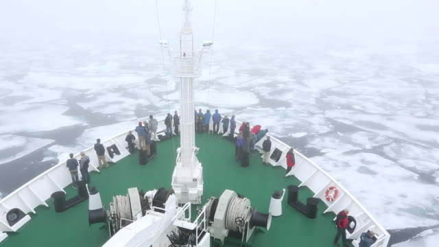 The Russian research vessel, AkademiK Sergey Vavilov an ice strengthened ship on an expedition cruise to Northern Svalbard, with clients on the prow at over 80 degrees north in rotten sea ice, some 550 miles from the North Pole. Latest research shows the A