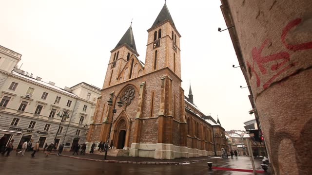 the sacred heart cathedral - sarajevo stock-videos und b-roll-filmmaterial
