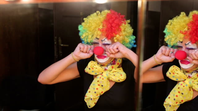 the sad clown. - dog knotted in woman stock videos & royalty-free footage