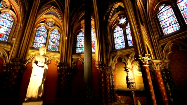 the sainte chapelle in paris - christianity stock videos and b-roll footage