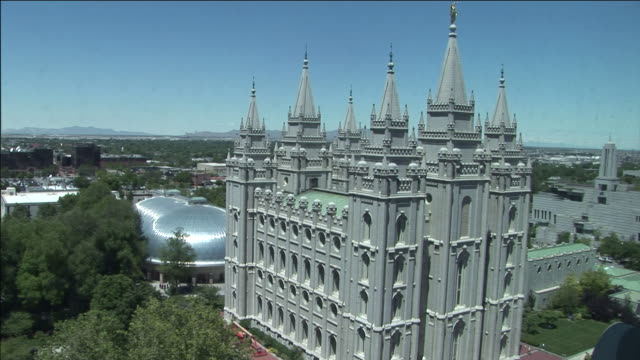 the salt lake city temple overlooks temple square. - mormonism stock videos & royalty-free footage
