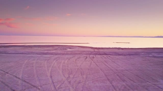 the salton sea at sunset - aerial view - san andreas fault stock videos & royalty-free footage