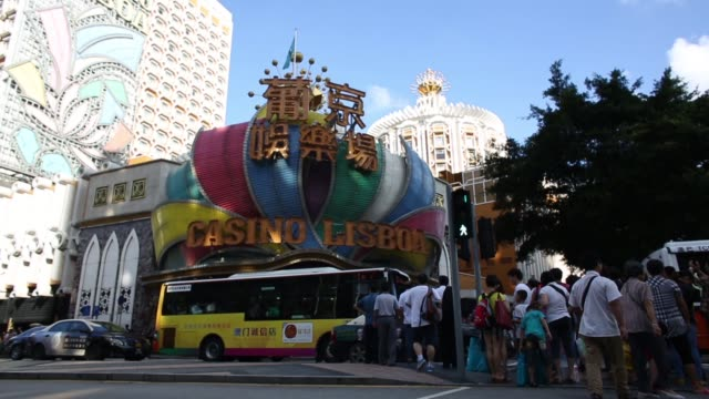 the sands macao hotel and casino operated by sands china ltd a unit of las vegas sands corp stands in macau china on sunday aug 4 pan lr the sands... - las vegas crosses stock-videos und b-roll-filmmaterial