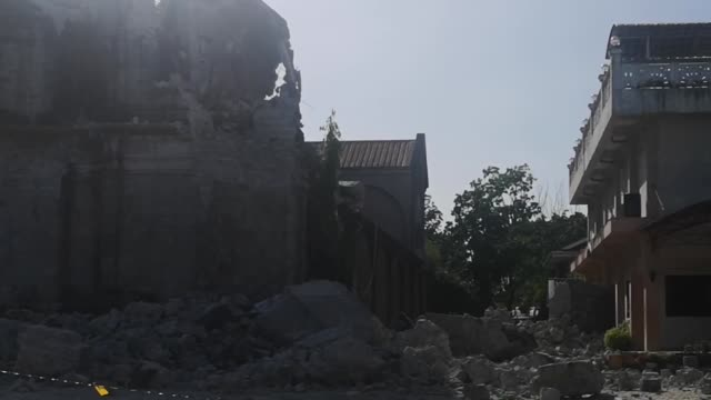 the santa catalina de alejandria church is a 19th century baroque heritage church which was severely damaged by the 61 magnitude earthquake that... - earthquake stock videos and b-roll footage