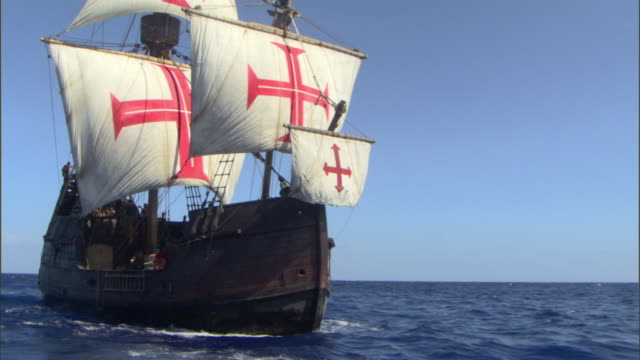 the santa maria carries her crew across the open ocean. - crew stock videos & royalty-free footage