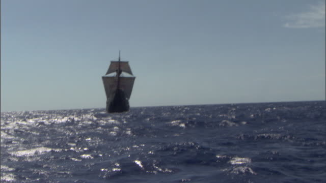 the santa maria sails on the open sea. - seascape stock videos & royalty-free footage