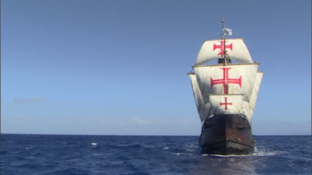 the santa maria sails through open seas. - the past stock videos & royalty-free footage
