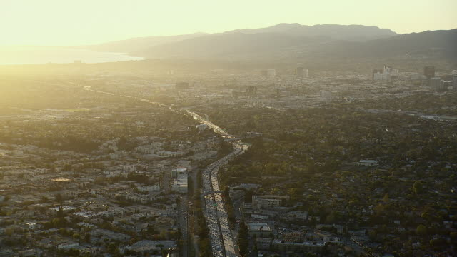 the santa monica freeway (interstate 10) leads toward the sunny coast in los angeles county, california. - interstate 10 stock videos & royalty-free footage