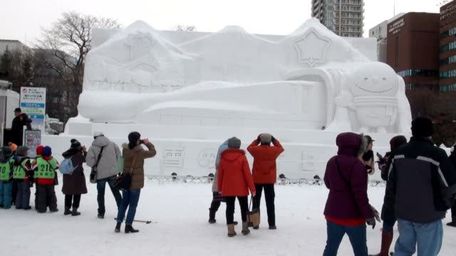the sapporo snow festival an event synonymous with winter in hokkaido opened at three venues around sapporo on february 5 the festival marks the 67th... - schneefestival stock-videos und b-roll-filmmaterial
