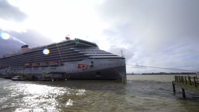 atmosphere the 'scarlet lady' cruise ship arrives into liverpool port on february 25 2020 in liverpool england - cruise stock videos & royalty-free footage