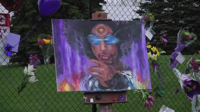 The scene at Paisley Park in Chanhassen Minnesota where fans pay their respects to the beloved local musician and artist Prince