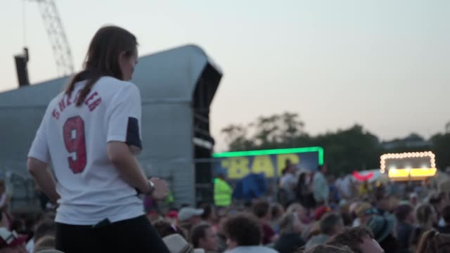 the scene from the west holts stage at glastonbury festival where fans watched the england women's team progress to the world cup semi-final with a... - semifinal round stock videos & royalty-free footage