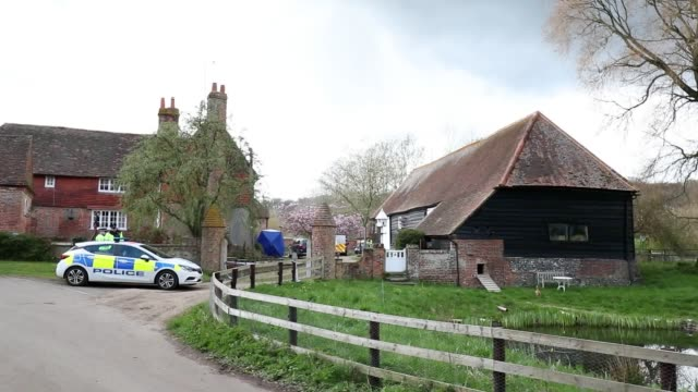 The scene in Bucklebury Berkshire where Thames Valley Police have launched a murder investigation after a man and a woman were found dead in the...