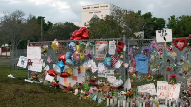 the scene in front of marjory stoneman douglas high school is seen after on february 21 2018 in parkland florida police arrested and charged 19 year... - 銃撃事件点の映像素材/bロール