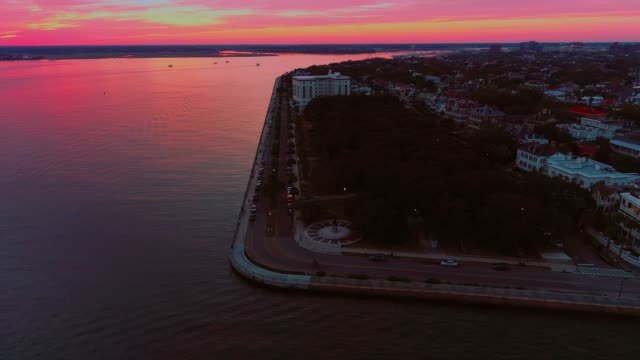 The scenic aerial panoramic view of Charleston, South Carolina, at sunset