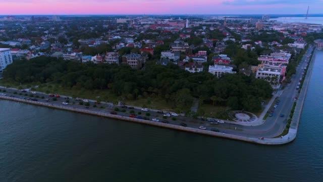 the scenic aerial panoramic view of charleston, south carolina, at sunset - south carolina stock videos & royalty-free footage