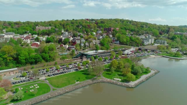 the scenic aerial panoramic view of the small town dobbs ferry, westchester, new york, at the sunny spring day. - hudson river stock videos & royalty-free footage