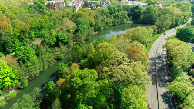 the scenic aerial view of bronxville village over the bronx river park and the bronx river. - small town stock videos & royalty-free footage