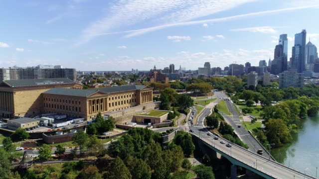 the scenic aerial view on philadelphia downtown over the schuylkill river. - philadelphia pennsylvania video stock e b–roll