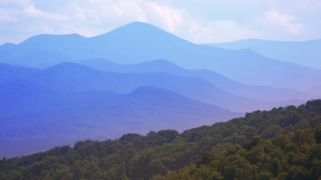 The scenic mountains of Blue Ridge Parkway in Asheville, North Carolina, timelapse