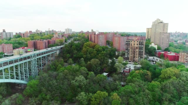 the scenic panoramic aerial view to bronx over the henry hudson bridge - elevator point of view stock videos and b-roll footage