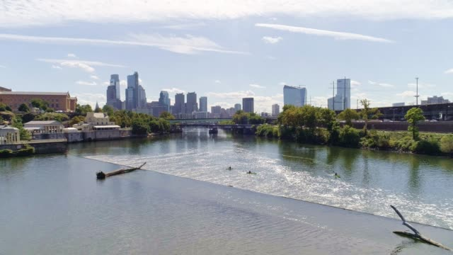 The scenic panoramic view on Philadelphia Museum of Arts and Downtown from the Schuylkill Rowing Basin and Fairmont Dam. Drone aerial video.