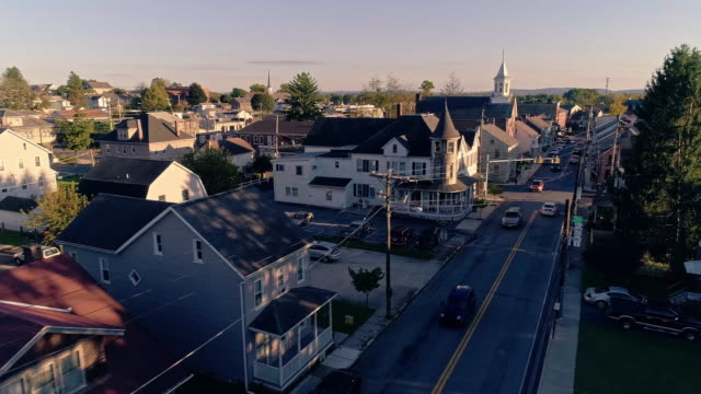 the scenic view of the small pennsylvanian town bath at sunset. appalachian mountains, pennsylvania, usa. aerial drone video with the panoramic camera motion. - cable tv stock videos & royalty-free footage