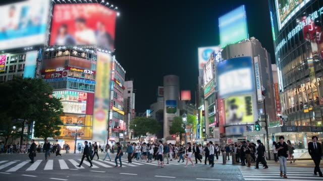 t/l 8k the scramble - shibuya crossing - asian market stock videos and b-roll footage