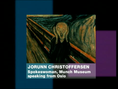 the scream' painting & jorunn christoffersen phono interview sot - it's a treasure we have lost - orthographic symbol stock videos & royalty-free footage