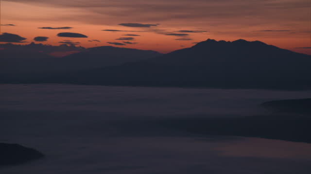 the sea of clouds over lake kussharo - caldera stock videos and b-roll footage