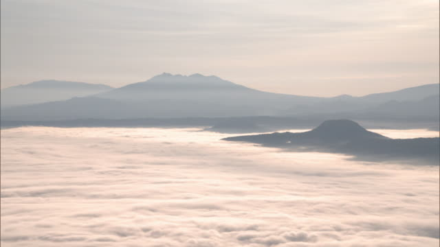 the sea of clouds over lake kussharo - stratus stock videos & royalty-free footage