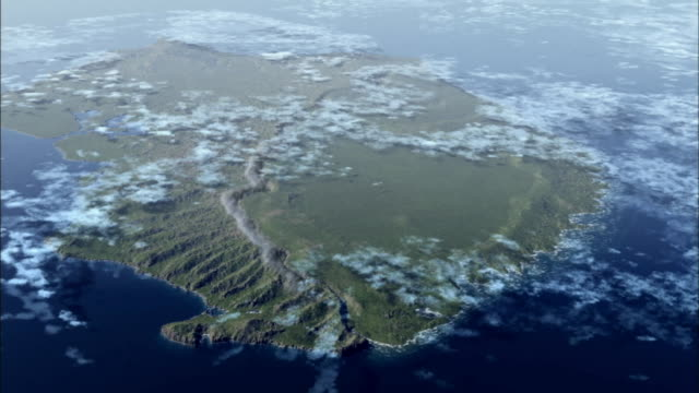 vídeos de stock, filmes e b-roll de the sea reclaims part of a volcanic island in an animation. - erodido