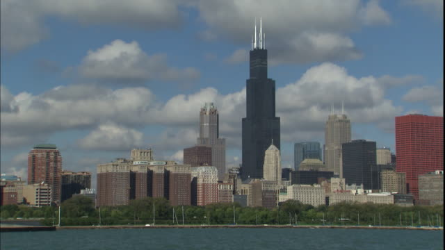 The Sears Tower rises above Lake Michigan and the Chicago skyline.