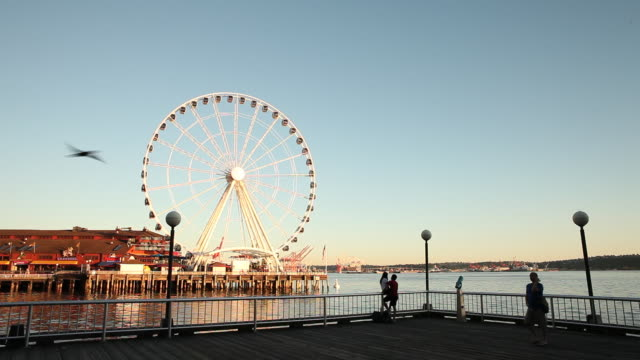vídeos de stock e filmes b-roll de the seattle waterfront at sunset during the summer season. - roda gigante