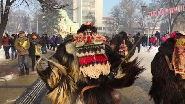 the second and final day of the annual surva international festival of the masquerade games on january 29 2017 in pernik bulgaria the two day surva... - bulgaria stock videos & royalty-free footage