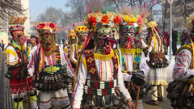 the second and final day of the annual surva international festival of the masquerade games on january 29 2017 in pernik bulgaria the two day surva... - traditional ceremony stock videos & royalty-free footage