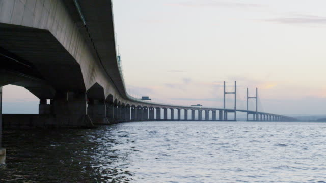 the second severn crossing at sunset - river severn stock videos & royalty-free footage
