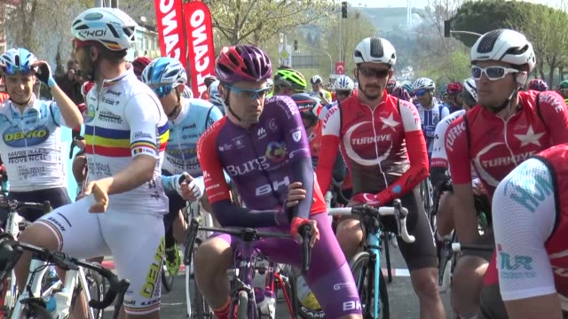 the second stage of the 55th presidential cycling tour of turkey started in tekirdag on wednesday the second stage started in tekirdag and will end... - eurasia stock videos and b-roll footage
