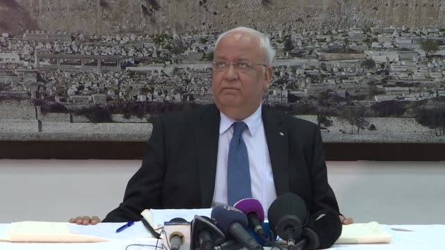 the secretary general of the palestine liberation organisation saeb erekat gives a press conference in ramallah about the resolutions of the plo... - palestine liberation organisation stock videos & royalty-free footage