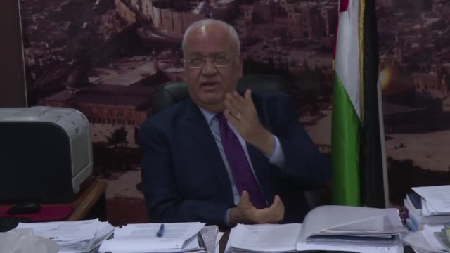 the secretary general of the palestine liberation organisation saeb erekat condems the us decision to end all funding for the un palestinian refugee... - palestine liberation organisation stock videos & royalty-free footage